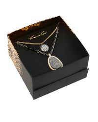 Kenneth Cole - Metallic Boxed Hematite Druzy Duo Pendant Necklace - Lyst