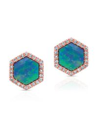 Anne Sisteron | Metallic 14kt Rose Gold Opal Diamond Hexagon Studs | Lyst