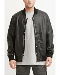 Forever 21 | Black Faux Leather Bomber Jacket for Men | Lyst