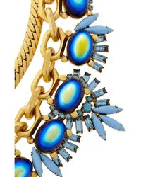 Elizabeth Cole - Blue Goldplated Crystal and Cabochon Necklace - Lyst