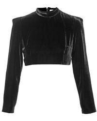 Tata Naka - Black Velvet Crop Top - Lyst