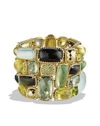 David Yurman | Metallic Chatelaine Five-row Bracelet With Lemon Citrine, Green Tourmaline, And Demantoid Garnets In 18k Gold | Lyst