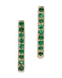 Jennifer Meyer - Green Diamond Long Bar Stud Earrings Ruby - Lyst