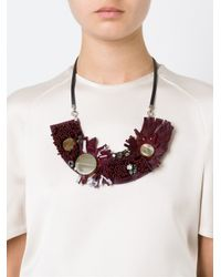 Marni   Red Horn Sequin Necklace   Lyst