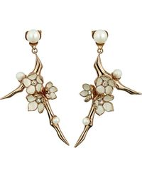 Shaun Leane | Metallic Cherry Blossom Rose-gold Vermeil, Ivory Enamel, Pearl And Diamond Branch Earrings Large | Lyst