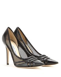 Jimmy Choo | Black Hettie 100 Leather And Mesh Pumps | Lyst