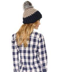Mischa Lampert | Black Deep Beanie Hat - Taupe/navy/silver Fox | Lyst