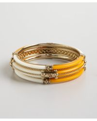 Chamak by Priya Kakkar - Set Of Three Orange and Cream Acrylic and Gold Metal Bangles - Lyst