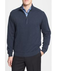 Cutter & Buck | Blue 'broadview' Cotton Half Zip Sweater for Men | Lyst