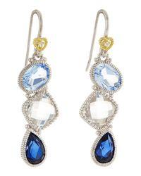 Judith Ripka - Blue Quartz, Crystal & Corundum Triple-Drop Earrings - Lyst