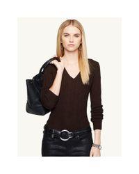 Ralph Lauren Black Label   Brown Cabled Cashmere V-neck Sweater   Lyst