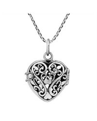 Aeravida - Metallic Romantic Filigree Heart Locket Sterling Silver Necklace - Lyst