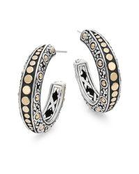 John Hardy | Metallic Dot 18k Yellow Gold & Sterling Silver Gypsy Hoop Earrings | Lyst