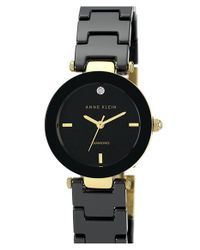 Anne Klein - Black Round Ceramic Bracelet Watch - Lyst