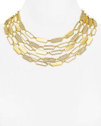 "Ralph Lauren | Metallic Lauren Geometric Multi Strand Necklace, 17"" | Lyst"