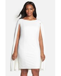 8a67302de64 Adrianna Papell Cape Sheath Dress in White - Lyst