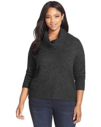 MICHAEL Michael Kors | Black Cowl Neck Elliptical Hem Sweater | Lyst