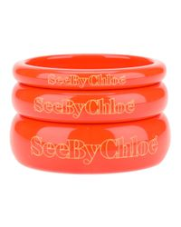 See By Chloé - Orange Stack Of Three Bangles - Lyst