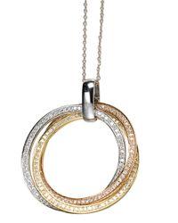Effy | Metallic Diamond, 14k White, Rose And Yellow Gold Pendant Necklace, 0.64 Tcw | Lyst