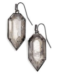 Kendra Scott | Metallic 'palmer' Drop Earrings - Gunmetal/ Mirror Rock Crystal | Lyst