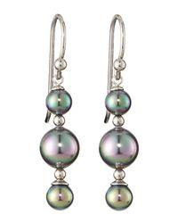 Majorica - Gray Triple-tier Earrings - Lyst