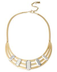 Kenneth Cole - Metallic Two-tone Geometric Bead Sculptural Frontal Necklace - Lyst