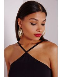 Missguided - Metallic Cut Out Detail Chunky Hoops Gold - Lyst