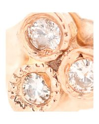 Jacquie Aiche - Pink 14kt Rose Gold Bezel Stud Single Earring with White Diamonds - Lyst