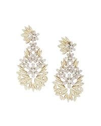 BCBGMAXAZRIA | Metallic Floral Statement Earrings | Lyst