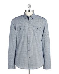 Guess | Blue Dotted Cotton Sportshirt for Men | Lyst