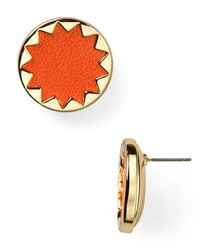 House of Harlow 1960 - Black 1960 Sunburst Leather Button Earrings - Lyst