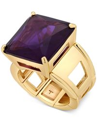T Tahari | Gold-tone Purple Crystal Cocktail Stretch Ring | Lyst