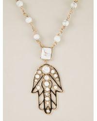 Roberto Cavalli - Metallic Hamsa Pendant Necklace - Lyst