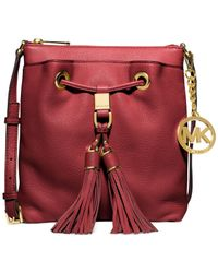 Michael Kors - Red Michael Camden Drawstring Crossbody - Lyst