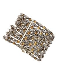 Konstantino | Metallic Sterling Silver Large Citrine Chain Cuff | Lyst