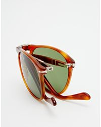 Persol - Brown Aviator Keyhole Foldable Sunglasses for Men - Lyst