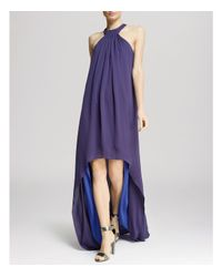 Halston - Purple Gown - Gathered Neck High/Low - Lyst