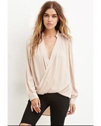 Forever 21 | Natural Drapey Surplice Top You've Been Added To The Waitlist | Lyst