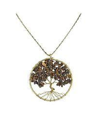Aeravida | Metallic Tiger's Eye Stone Eternal Tree Of Life Brass Long Necklace | Lyst