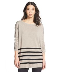 Caslon | Natural Blanket Stripe Cotton Blend Pullover | Lyst
