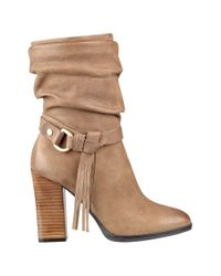 Guess - Natural Tamsin Fringed Leather Ankle Boots - Lyst