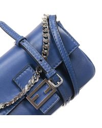 Fendi - Blue Clutch Bag Baguette Micro Leather With Strap 8x14x3 Cm - Lyst
