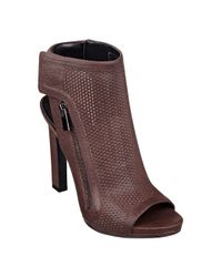Nine West - Brown Tiptoe Peep Toe Booties - Lyst