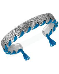 The Sak | Metallic Silver-tone Thread-stitched Batik Cuff Bracelet | Lyst