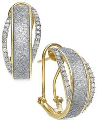 Macy's - Metallic Diamond Glitter Omega Earrings (1/3 Ct. T.w.) In 14k Gold-plated Sterling Silver - Lyst