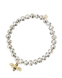 Sydney Evan | Metallic 6Mm Faceted Silver Pyrite Beaded Bracelet With 14K Gold/Diamond Bee Charm (Made To Order) | Lyst