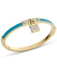 Michael Kors | Blue Gold-Tone Turquoise Pave Padlock Bangle Bracelet | Lyst