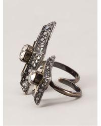 Lanvin | Metallic 'altair' Two Finger Ring | Lyst