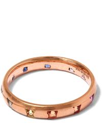 Polly Wales - Metallic Rose Gold Princess Cut Sapphire Ring - Lyst