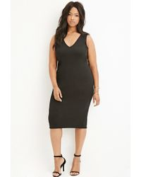 Forever 21 | Black V-neck Bodycon Dress | Lyst
